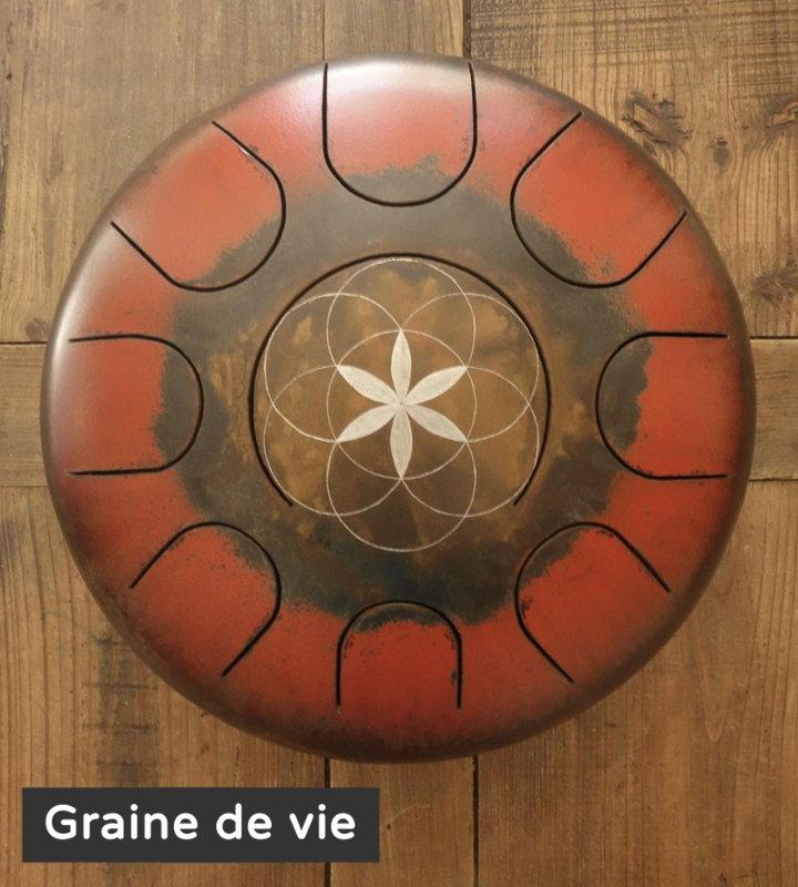 Graine de vie décoration gravure personnalisé Steel Tongue Drum - Sound Circle
