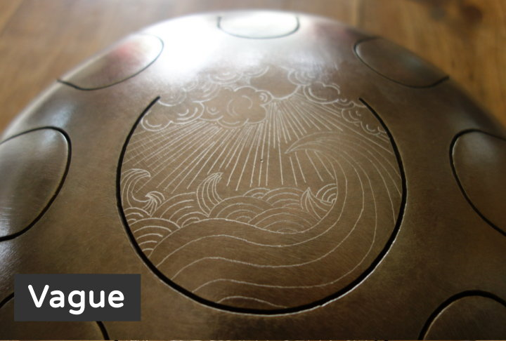 Vague décoration gravure personnalisé Steel Tongue Drum - Sound Circle