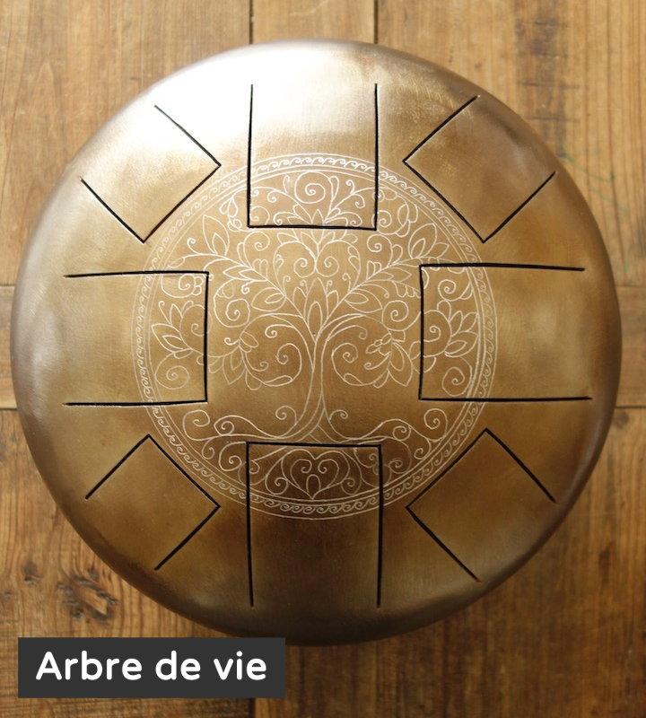 Arbre de vie décoration gravure personnalisé Steel Tongue Drum - Sound Circle