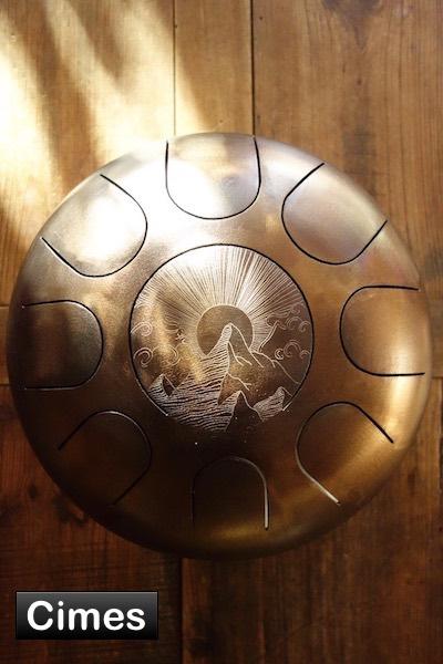 Steel tongue drum Sound circle - Gravure montagnes