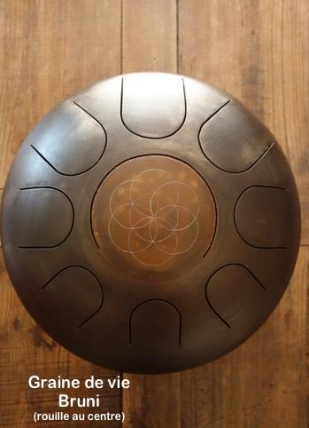 Steel tongue drum Sound circle - Gravure graine de vie