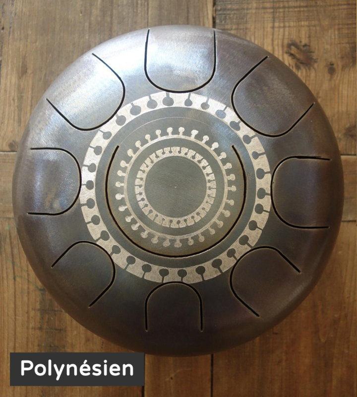 Steel tongue drum Sound circle - Gravure polynésienne